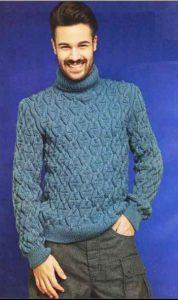 мужской пуловер, связанный спицами