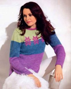 вязаный женский пуловер схемы